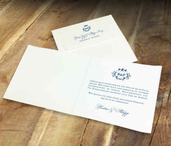 elegante Hochzeitskarte für eine königliche Hochzeit, Büttenpapier