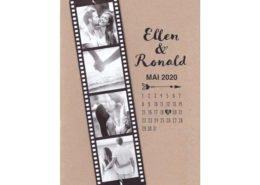 individualisierbare Hochzeitskarte: Filmrolle mit eigenen Fotos auf Kraftpapier, Hochzeitskarten mit Bild