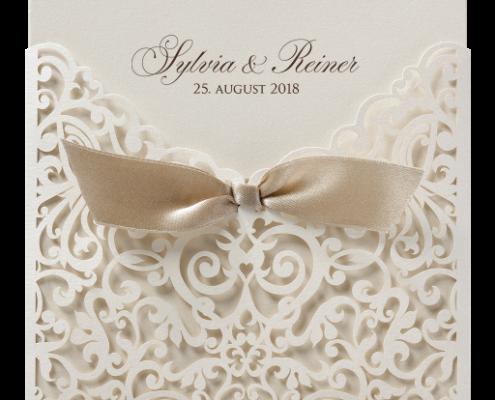 filigrane Lasercut-Einladung aus Perlmuttpapier, Hochzeitskarten Laserschnitt