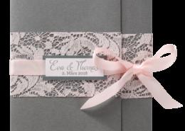 Hochzeitskarte, schimmernder Metallic-Karton, zarte Spitze, Hochzeitskarten Rose