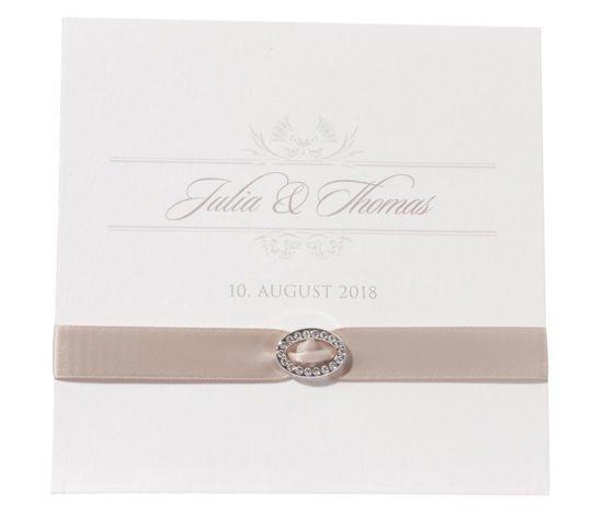 elegante Hochzeitskarte mit Satinband und Brosche, Hochzeitskarten Einladungen
