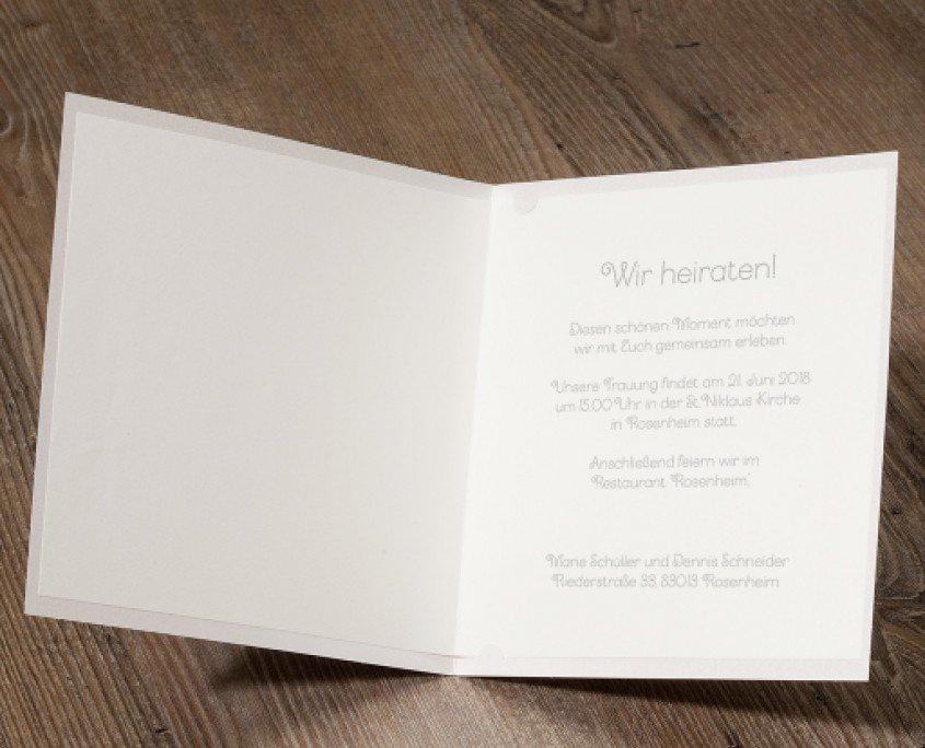 cremefarbene Hochzeitskarte, persönlicher Wunschtext, hochzeitskarten inhalt