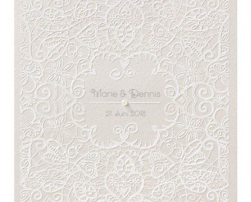 elegante Hochzeitskarte mit Perle, Flockdruck, Hochzeitskarten elegant
