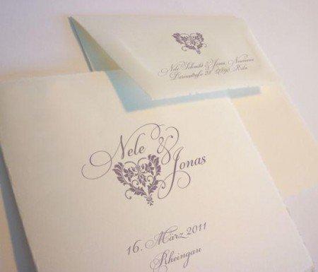 Büttenpapier Hochzeitskarten Herz