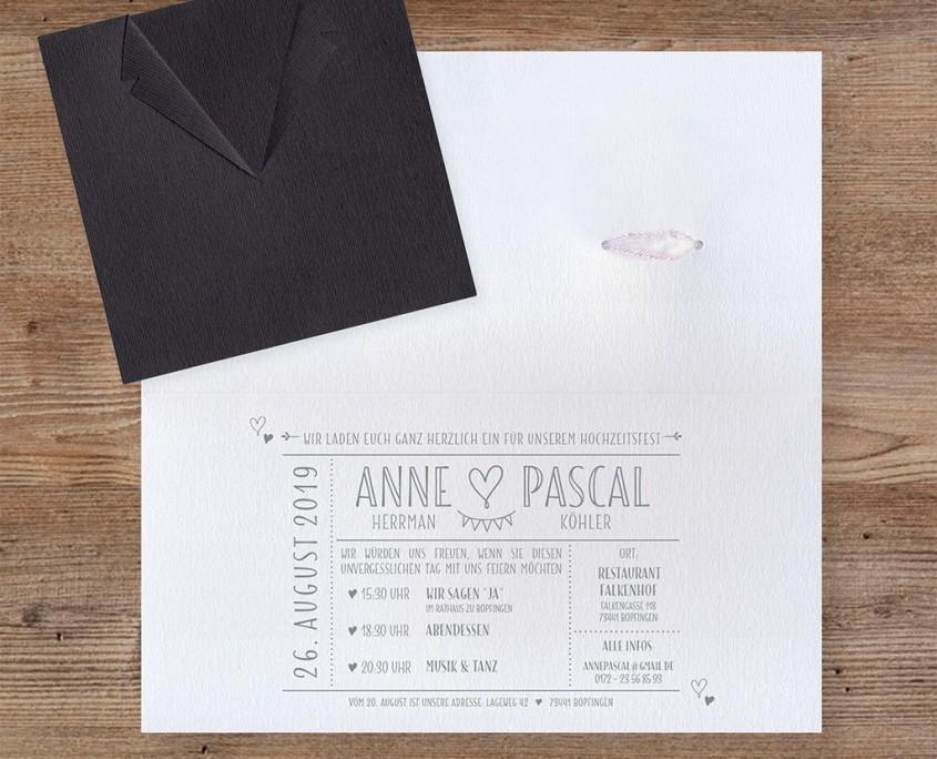 stilvolle, moderne Einschubkarte, außergewöhnliches Design, hochzeitskarten papeterie