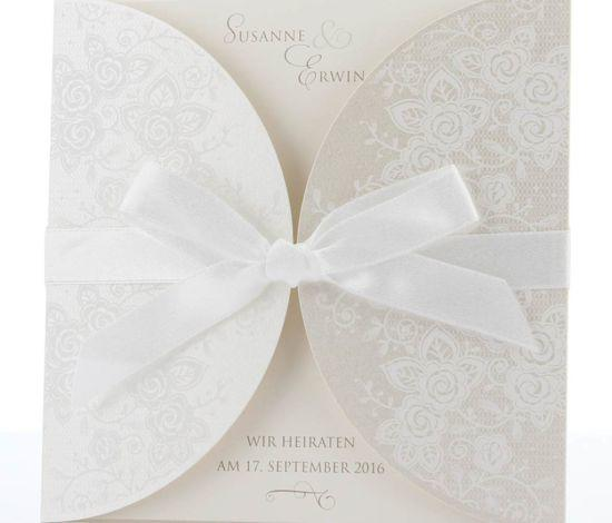 hochwertige Hochzeitskarte aus weißem Schimmerkarton, Hochzeitskarten elegant