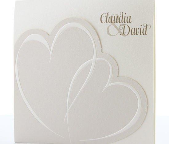 Hochzeitskarte mit zwei Herzen, heller Schimmerkarton, Hochzeitskarten Herz