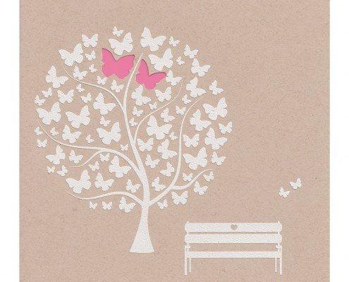 Hochzeitskarte mit weißem Baum und Schmetterlingen, Strukturkarton, hochzeitskarten ideen