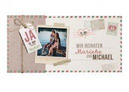 Hochzeitseinladung, Einschubkarte mit Vintage-Umschlag, Hochzeitspapeterie mit Foto