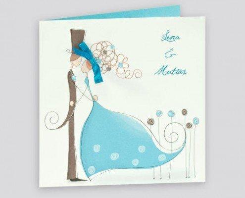 Hochzeitskarte im französischen Stil, Brautpaar, Schleife, Hochzeitskarten bestellen