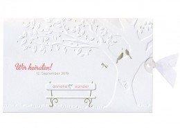 schöne Hochzeitskarte, Prägung, Baum, Vogelpaar, Hochzeitskarten Papeterie