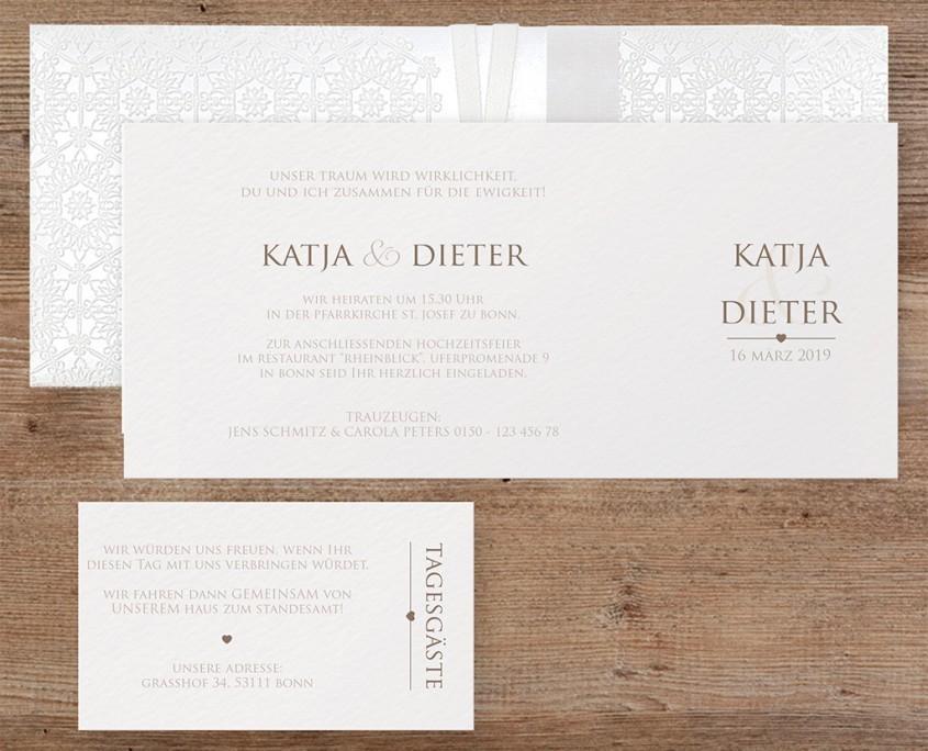stilvolle Hochzeitseinladung mit Bändchen, Einsteckkarte, Hochzeitskarten Design