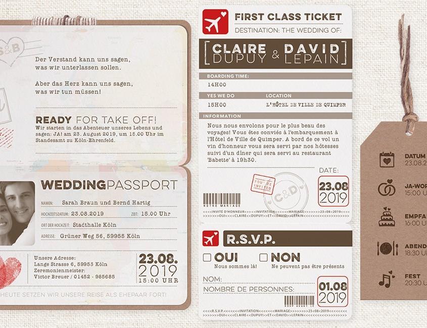 Die Boardkarte zu Ihrer Hochzeit, Hochzeitskarten Reisepass