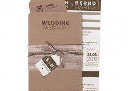 """originelle Hochzeitskarte """"Hochzeits-Pass"""", Hochzeitskarten Jute"""