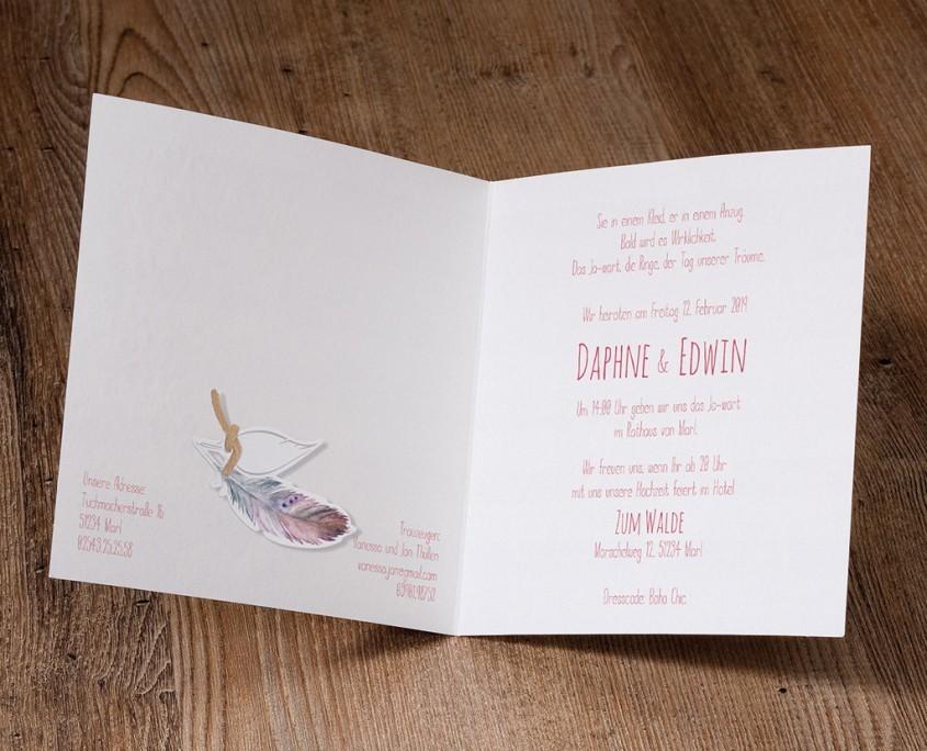 originelle Hochzeitskarte, exklusives Papier, Feder, Hochzeitskarten Herz