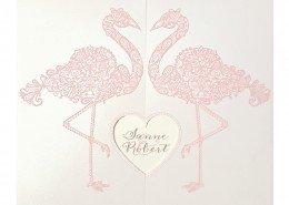 Hochzeitskarte mit zarten Flamingos, Hochzeitskarten Deko