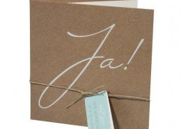 """Hochzeitskarte, Countrylook, schwungvolles """"Ja"""", natürliche Kordel, Hochzeitskarten Cartoon"""