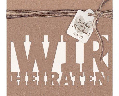 Hochzeitskarte, Kordel, Schildchen mit den Namen, Hochzeitskarten Lasercut