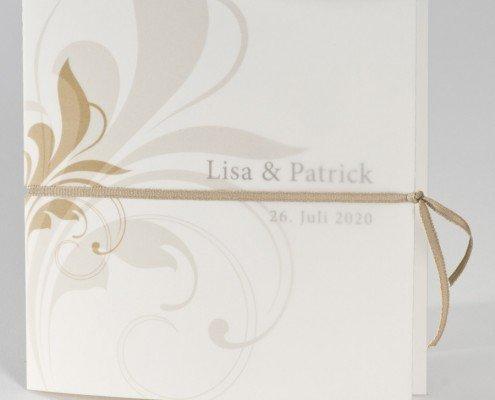schöne Hochzeitskarte, Edelkarton, hochwertiges Transparent