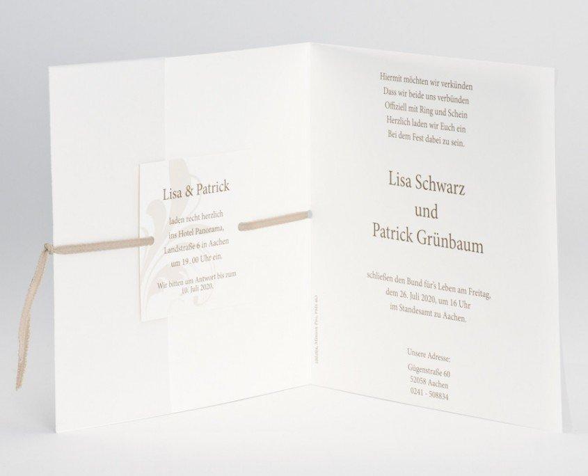 Hochzeitskarte, Innenteil mit Einladungstext, Hochzeitskarten Druck