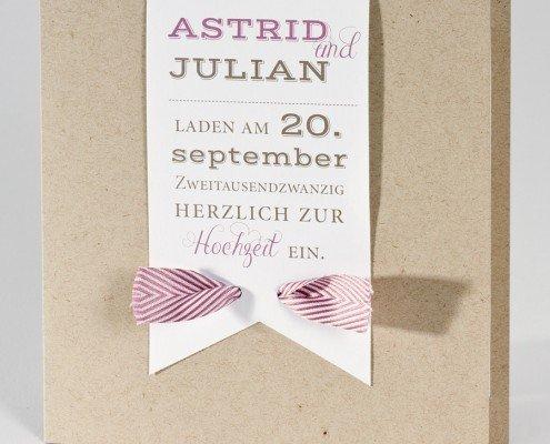 quadratische Klappkarte, Titelseite, Naturkarton, Hochzeitskarten Papeterie