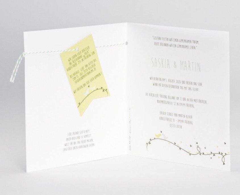 Hochzeitskarte Innenteil, Wimpel, Zusatzinformationen, Hochzeitskarten quadratisch