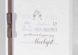 Einladungskarte, Band und Schleife, Typografie, Hochzeitskarten quadratisch