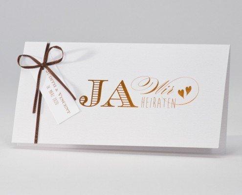 """Hochzeitskarte """"Glanz"""", elegante Heißfolie in """"echtem"""" Gold, hochzeitskarten ja"""