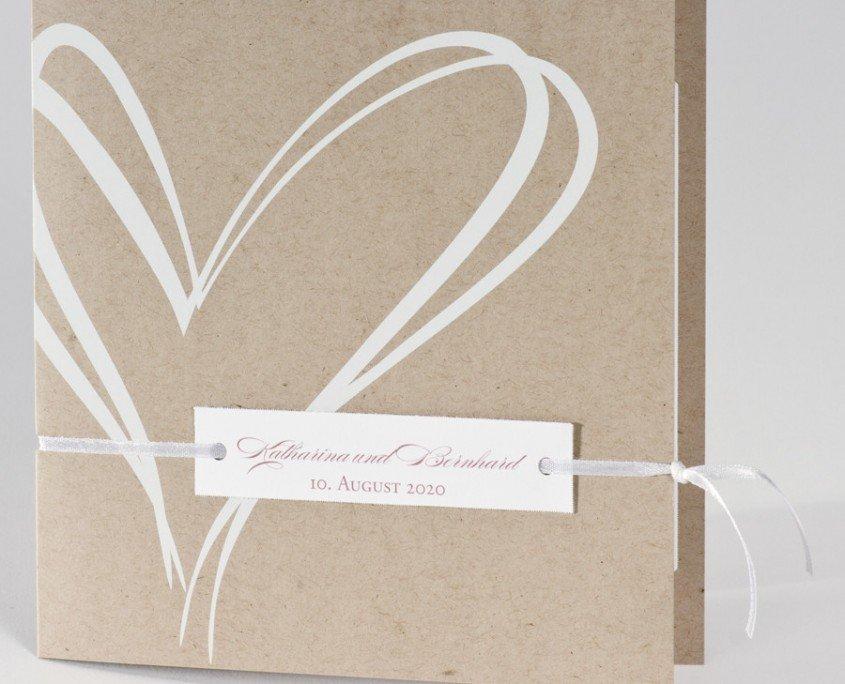 """""""Von Herzen"""" – quadratische Klappkarte aus geschmeidigem Naturkarton, künstlerisches Herz, stilvolles Design, hochzeitskarten einladungen"""