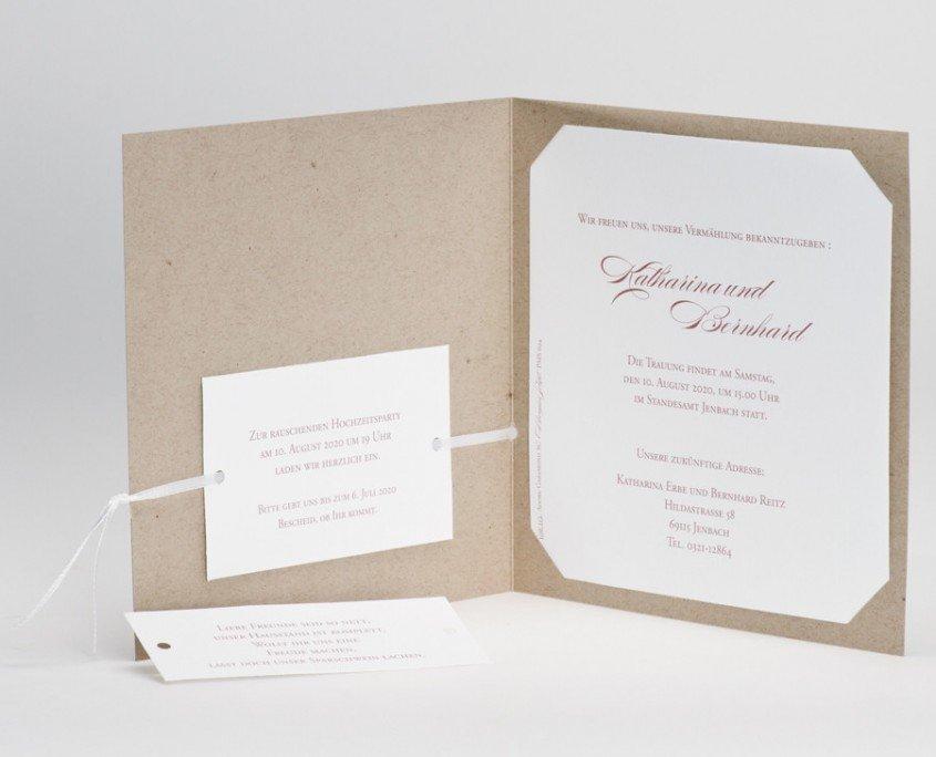 """Hochzeitskarte """"Von Herzen"""", Innenseiten, Einladungstext, Zusatzkärtchen, hochzeitskarten papier"""