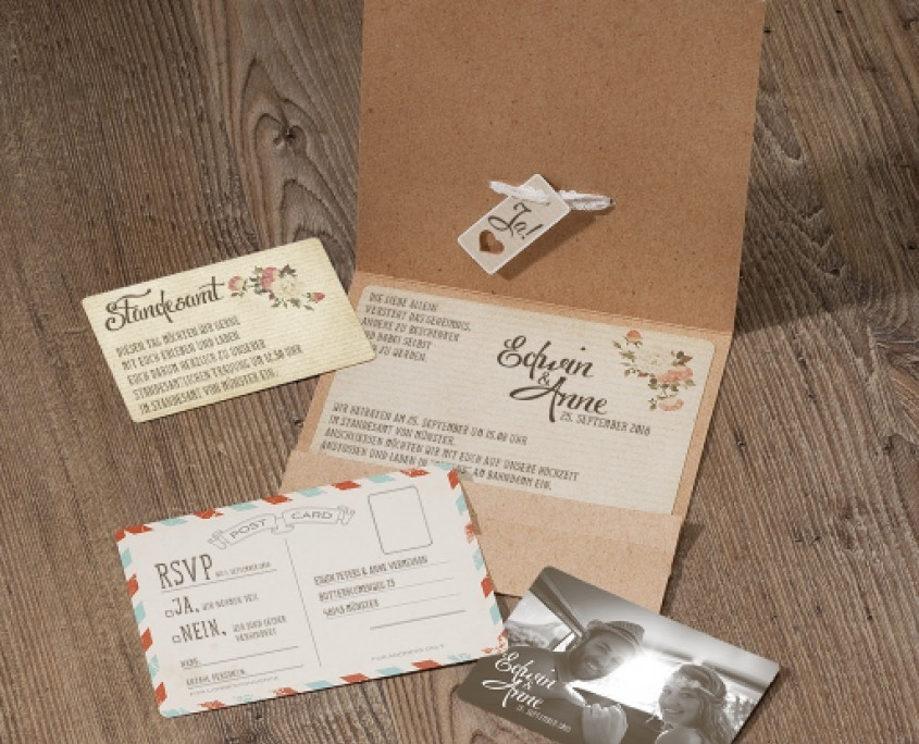Hochzeitseinladung mit drei Einsteckkarten, hochzeitskarten individuell