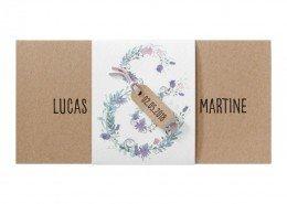 elegante DIN Lang-Karte aus naturellem Kraftkarton, Hochzeitskarten floral