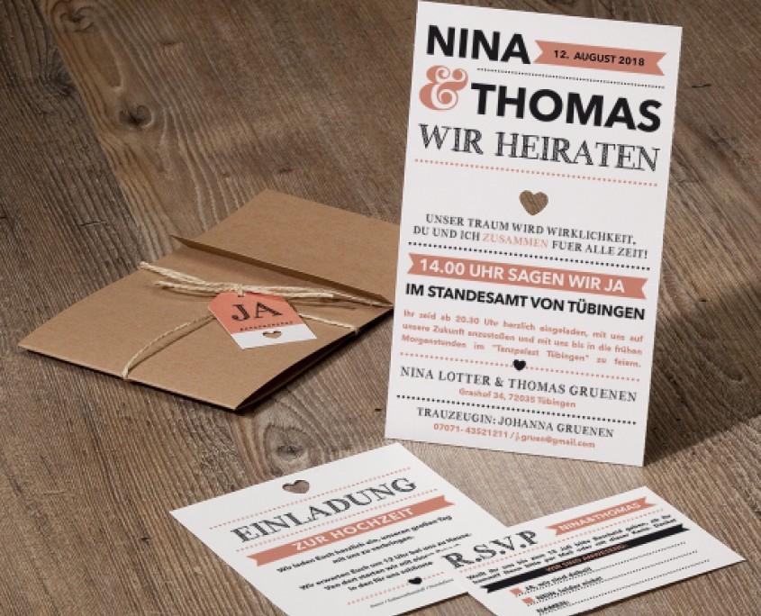 Umschlag aus festem Kraftkarton, drei Einlegekarten, Hochzeitspapeterie Vintage