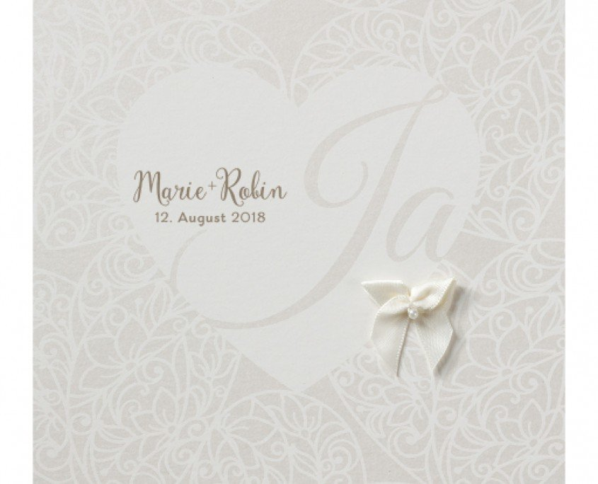 Hochzeitskarte schlicht und romantisch, Herz, feine Blumenranken, Hochzeitspapeterie floral