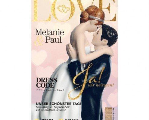 Einladungskarte, Titelbild, journalistisches Design, ausgefallene Hochzeitspapeterie