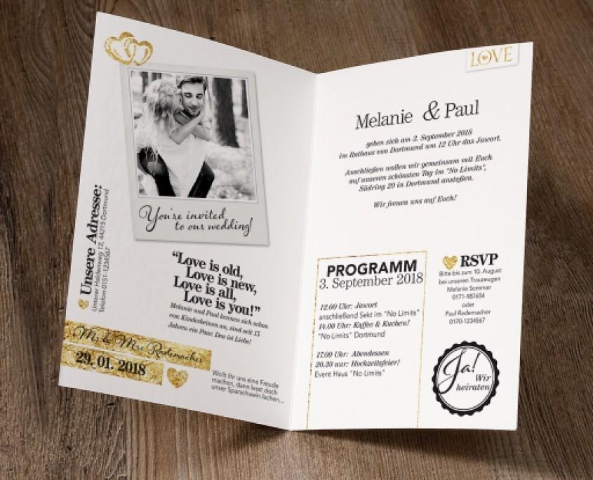 Hochzeitskarte, journalistisches Designs, Hochzeitspapeterie modern