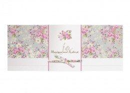 romantische Hochzeitskarte, Banderole mit den Namen, Hochzeitskarten Paradies