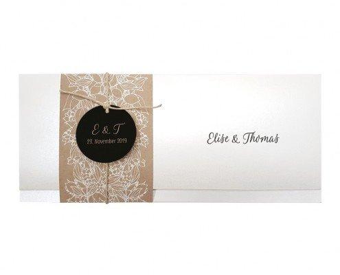 Hochzeitskarte, rustikal, kunstvoller Flockdruck, hochzeitskarten papeterie