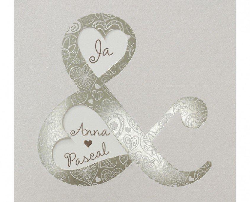 elegante Hochzeitskarte, Edelkarton, Heißfoliendruck, Hochzeitspapeterie edel