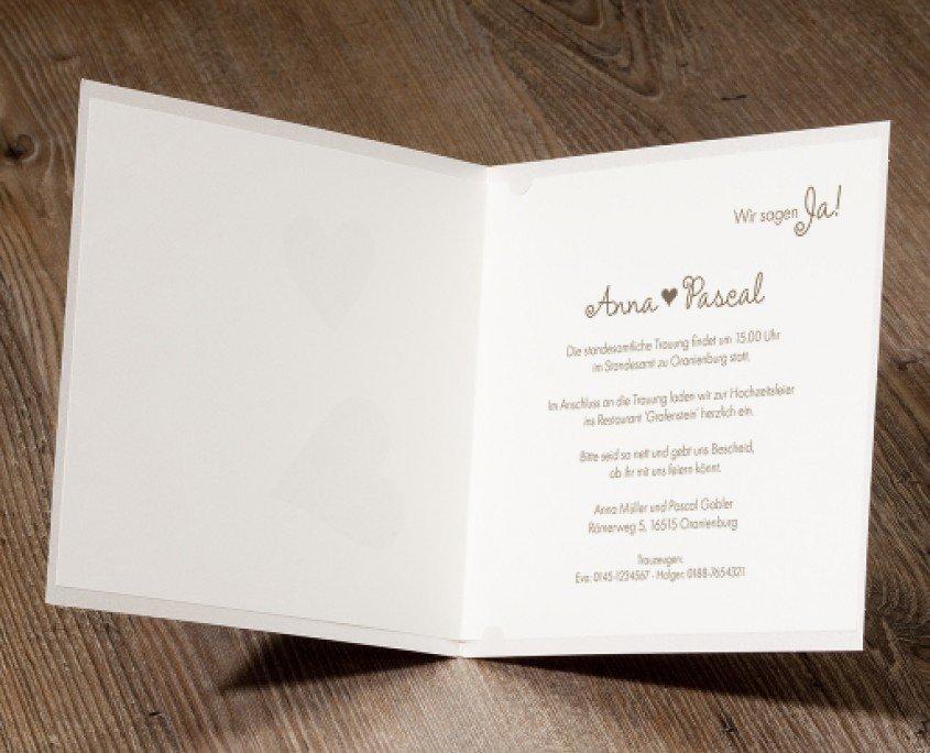 exklusive Hochzeitseinladung, persönlicher Wunschtext, Hochzeitskarten individuell