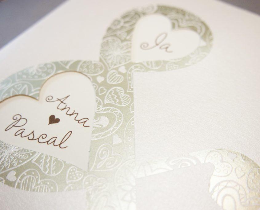 elegante Hochzeitskarte, hochwertiger Heißfoliendruck, hochzeitspapeterie online