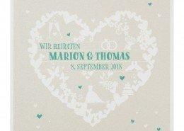 quadratische Klappkarte aus edlem Schimmerkarton, Hochzeitspapeterie online bestellen