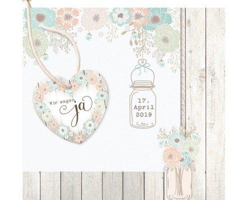entzückende Hochzeitskarte im Country-Style, Pop up Hochzeitskarten