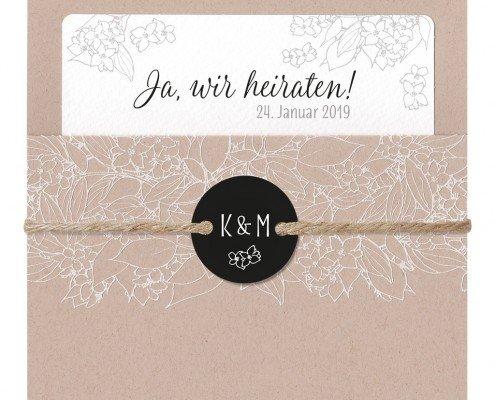 Hochzeitseinladung, filigrane Blumenverzierung, hochzeitspapeterie floral