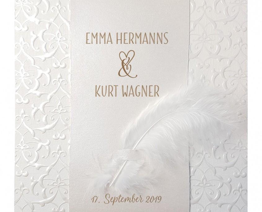 elegante Hochzeitskarte mit ausdrucksstarker Prägung, Hochzeitspapeterie Düsseldorf