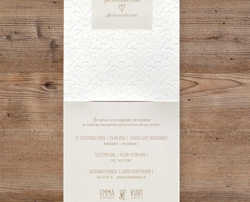 traditionelle Hochzeitskarte, Innenseiten, Typografie, Hochzeitspapeterie online bestellen