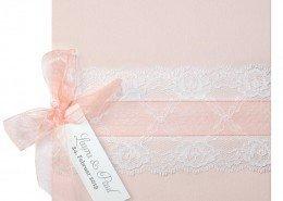 wunderschöne Hochzeitskarte in Zartrosé, rosafarbenes Transparentband, Hochzeitskarten Rose