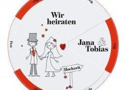 """Hochzeitskarte """"Glücksrad"""", liebevoll illustriertes Comicbrautpaar, Hochzeitskarten Comic"""