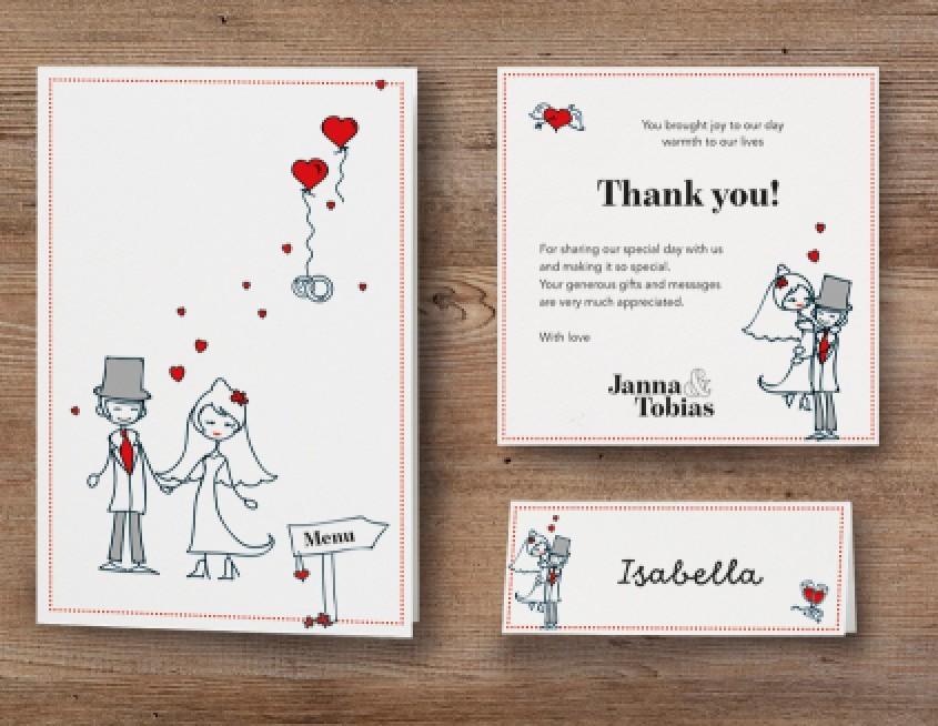 Hochzeitskarten, Menü, Danksagung, Namensschild, Hochzeitstorten modern