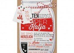Einladungskarte, Einmachglas-Form, raffiniertes Typografiedesign, Hochzeitskarten ausgefallen